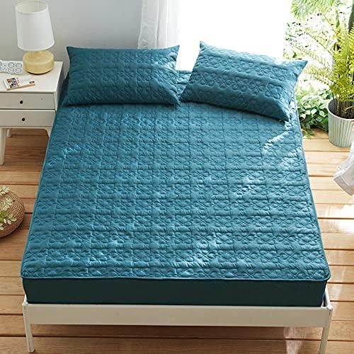 HPPSLT Protector de colchón Acolchado - Microfibra - Transpirable - Funda para colchon estira hasta La sábana de algodón Acolchada Antideslizante-Blue_150cm × 200cm