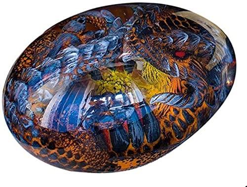 ZHEYANG Juguetes Dinosaurios Escultura de Resina de Huevo de dragn Transparente de Cristal de ensueo Adornos de Escritorio de dragn con Base Luminosa Model:G01409(Color:Blue;Size:Dragon Egg)