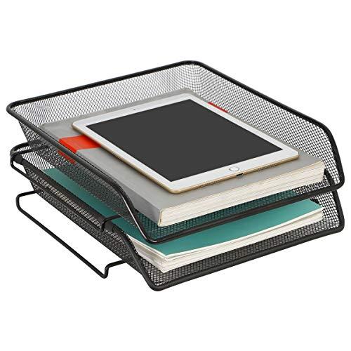 DESIGNA Briefablage Ablagefächer Stapelbar Metall Masche Papierablage Schreibtisch Organizer A4 für Zuhause Büro 2 Stück Schwarz