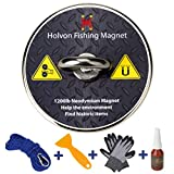 Holvon Fishing Magnet with Rope Bundle Pack - 1200lb Pulling Force, 65ft Nylon Rope, Heavy Duty Carabiner, Threadlocker, Tearproof Gloves, Scraper - Magnetic Metal Objects Treasure Hunting, Retrieval