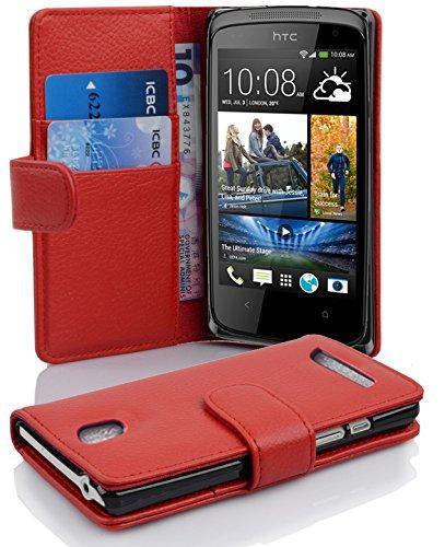 Cadorabo Hülle für HTC Desire 500 - Hülle in Inferno ROT – Handyhülle mit Kartenfach aus struktriertem Kunstleder - Case Cover Schutzhülle Etui Tasche Book Klapp Style