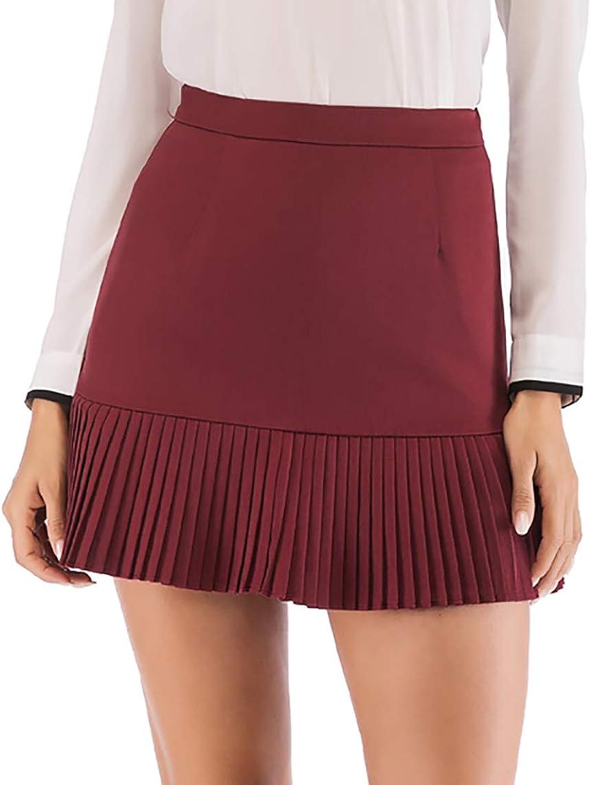 Hanlolo Women's Mini Skirt favorite Ruffle Hem High Bo Waist Short Flared Year-end gift
