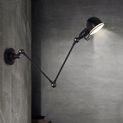 Crayom Swing Arm Wand Lampe, der lange Arm der Glaswand Eisen Industrial Creative Teleskop Schlafzimmer Retro Nostalgischen Restaurant Foldable Aisle Schwarz