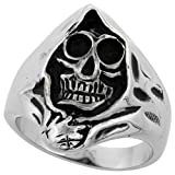 Sabrina Silver Stainless Steel Grim Reaper Head Ring Biker Rings for Men 1 inch, Size 10