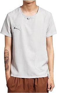 ef88aa890541 MCYs Camicetta in Cotone E Lino Camicia Manica Corta Casual T-Shirt Tinta  Unita da