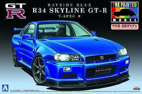 1 24 Pre-Painted Model series No.31R34 Skyline GT-R V-SpecII (Bayside Blau) (japan import) by Aoshima