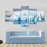 CVBGF 5 Impresiones artísticas de Alta definición, Iceberg antártico imágenes gráficas artísticas, Carteles e Impresiones Modernas de Alta definición,con Marco
