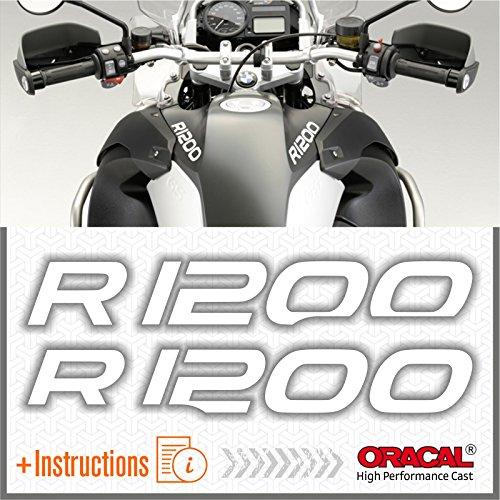 2pcs Adesivi R1200 compatibile con R 1200 GS ADVENTURE Motorcycle r1200gs (White)