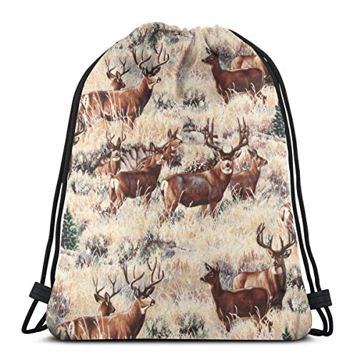 WH-CLA Cinch Bags Wild Mule Deer Lightweight Casual Drawstring Bag Travel Durable Men Cinch Bags Women Seamless Printed Student Drawstring Backpack Pattern For Sport Gym Traveling