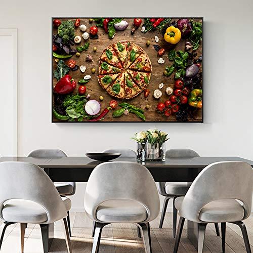 Love Pizza decoración de la pared lienzo de arte decoración vegetal orgánica pintura al óleo para la cocina decoración de la pared pintura40x60cm sin marco