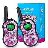 Nestling Walkie Talkie Niños, Camuflaje al Aire Libre 8 Canales LCD Pantalla Linterna Incorporado VOX, Rango de 3KM, 10 Tonos de Llamada Walkie Talkie Niñas Juguete Regalo (2pcs Rosa)