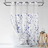 Lagute SnapHook Hook Free Shower Curtain with Snap-in Liner & See Through Top Window | Hotel Grade, Machine Washable & Water Repellent | 71Wx74L, Blue Blossom