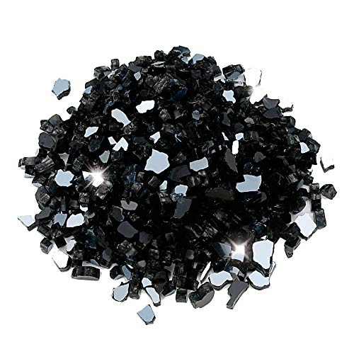 Utheer Black Reflective Fire Glass 9.5 Pounds 1/2 Inch for Indoor Outdoor Natural or Propane Fireplaces/Fire Pit/Fire Bowls/Vase Fillers/Garden Landscape Decorative, High Luster Tempered Glass Rocks