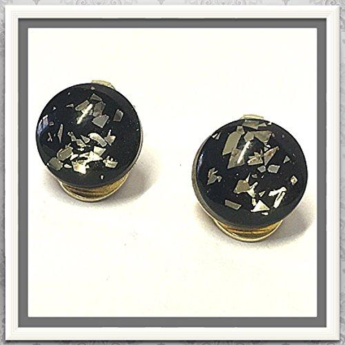 Ohrclips 925/- vergoldet mit Glascabochon schwarz mit Goldglitter 12mm