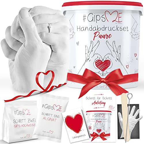 GipsME 3D Handabdruck Set für Paare - Alginat Gipsabdruckset - Partner und Pärchen Geschenke für Erwachsene als Muttertag, Hochzeitstag, Jahrestag-Geschenk für Sie und Ihn