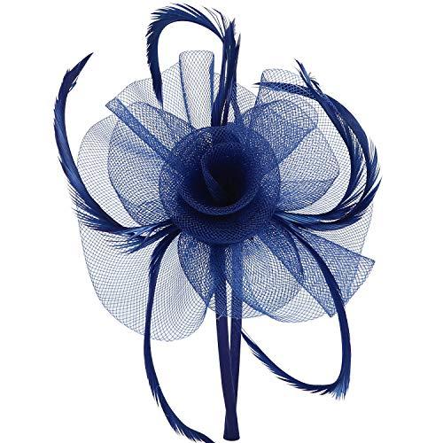 Discoball, fascinator. Elegante copricapo da donna con fiore e piume, ideale da indossare a matrimoni o eventi di gala