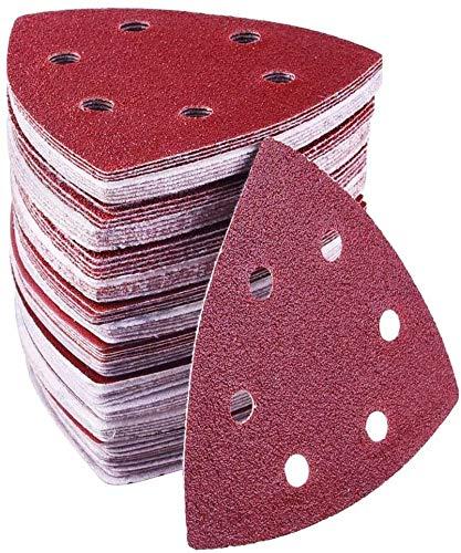 Triángulo de lijado delta, 72 unidades, 6 agujeros, 93 x 93 x 93 mm, cada uno con 15 x grano 40/60/80/120/180/240, para lijadoras delta, discos de lijado