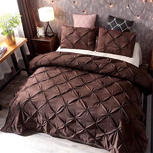 King Size Brown Pinch Pleat Duvet Cover with 2 Pillowcases 3 Pieces Flower Bedding Set Pintuck Duvet Cover Set 220 x 230cm