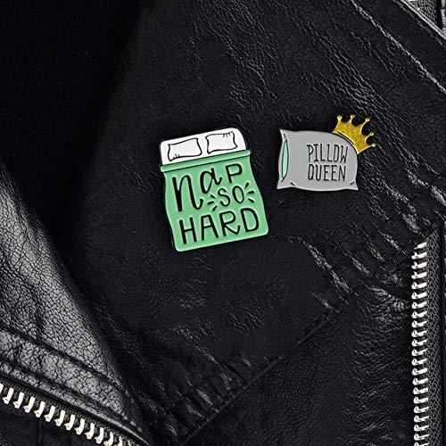 pu ran Modeschmuck Broschen Pins, Cartoon Bett Crown Kissen Emaille Brosche Frauen Denim Jacke Revers Abzeichen Geschenk Grün