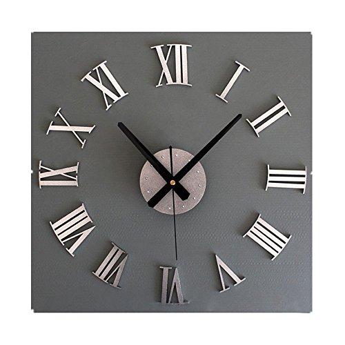 WINWINTOM DIY 3D de lujo de gran tamaño del arte decorativo reloj (Plata)