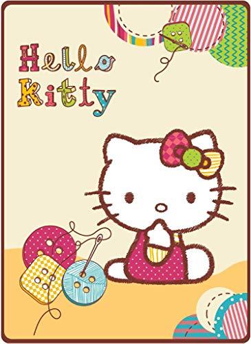 HK Hello Kitty Couverture pour bébé dans un coffret cadeau 80 x 110 cm, Polyester, jaune, 80 x 110 cm