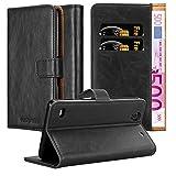 Cadorabo Hülle für Sony Xperia C4 - Hülle in Graphit SCHWARZ – Handyhülle im Luxury Design mit Kartenfach & Standfunktion - Case Cover Schutzhülle Etui Tasche Book