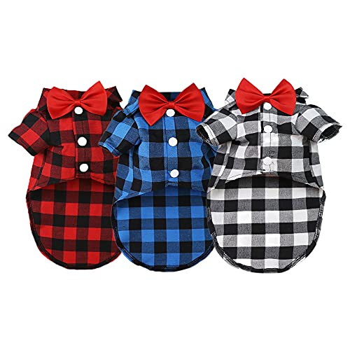 Sebaoyu Dog Plaid Shirt with Bow Tie 3 Pieces Puppy Clothes for Small Dogs Boy Summer Pet Clothing Breathable Cat T-Shirt Outfit Doggy Apparel for Medium Large Male French Bulldog Yorkie Breed (L)