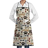 Olesa Dog Bones & Paw.jpg Novelty 3D Print Water Resistant Polyester Kitchen Apron with Big Pockets Machine Washable Easy Care Twill Sewing Bib Apron for Cooking BBQ Party