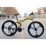 Bicicleta de Montaña, Plegable de 24 pulgadas de acero al carbono Barranco de bicicletas de montaña bicicletas de ruedas Unidad de doble freno de disco de doble suspensión 21 24 27 velocidades