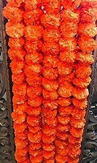 Buycrafty 5 Feet Long Strands Marigold Garlands, Wedding,Flower Garland Set of 5 - Dark Orange