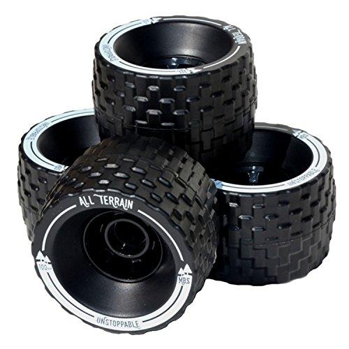 MBS 13401 - Black All-Terrain Longboard Wheels - 100mm X 65mm - Black