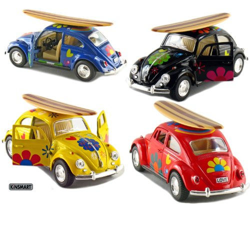 """Set of 4: 5"""" Classic Volkswagen Beetle with Decal and Surfboard 1:32 Scale (Black/Blue/Red/Yellow)"""