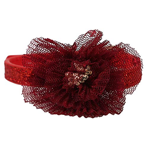 2 couleurs petit collier de chien fleur dentelle réglable collier de chat en cuir souple collier pour animaux de compagnie pour chiens chats 1.0 * 28cm
