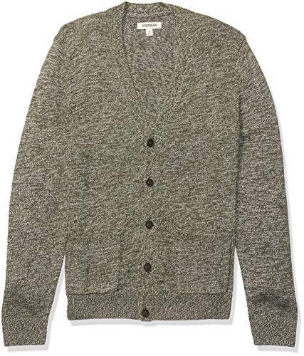 Amazon Brand - Goodthreads Men's Supersoft Marled Cardigan Sweater, Olive Medium Tall