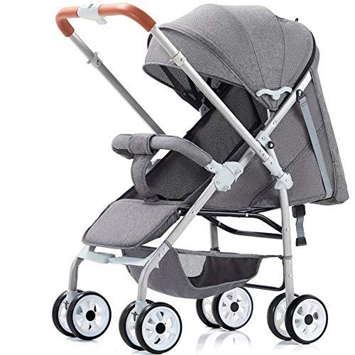 Sillita Plegable del Recorrido del Carro de bebé - Cochecito de mentir Sistema de Viaje Viaje mothercare Prueba de Golpes portátil Función, Apto for bebés de Entre 0~4 (Color : Gray)