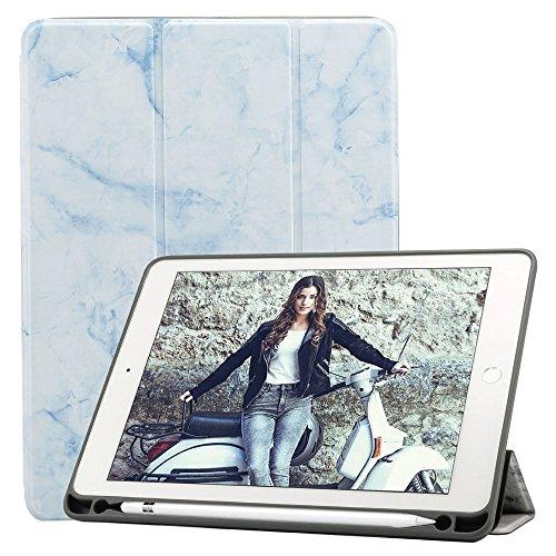 Billionn iPad 8/7 (10,2 Pulgadas, 2020/2019 Modelo, 8.ª/ 7.ª Generación) Funda + Protector Pantalla, Smart Cover con Stylus Pencil Soporte, Auto Sueño/Estela, Mármol Cielo Azul