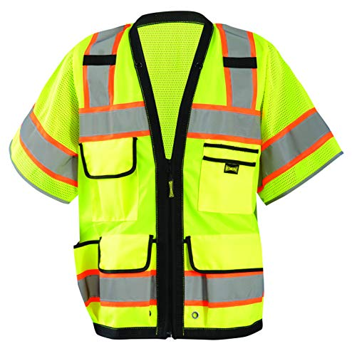 OccuNomix LUX-HDS2T3-Y3X Heavy Duty Solid/Mesh Two-Tone Surveyor Vest with Zipper, 8 Pockets, Class 3, 100% ANSI Polyester, 3X-Large, Yellow (High Visibility)