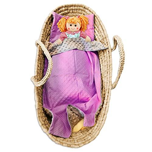 Totsy Baby Puppendecke Puppenbettwäsche für Puppenbett - Puppen Decke und Kissen Set Puppenwagen Zubehör Bettwäsche Rosa Baumwolle und Minky Grau
