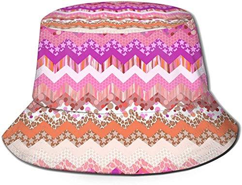 Unisex Varias Serpientes Travel Bucket Hat Summer Fisherman Cap Sun Hat-Pink Zigzag