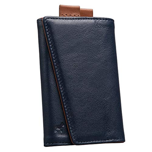 The Frenchie Co. Speed Wallet | Ultra Navy + Tan | The Original Speed Wallet for Men with RFID Blocking and Super Fast Card Access | Italian Leather Ultra Slim