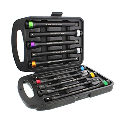 ABN 1/2in Drive 8in Long Color-Coded Torque Limiting Socket Extension Bar 10pc Tool Kit 65-150 ft/lb Set