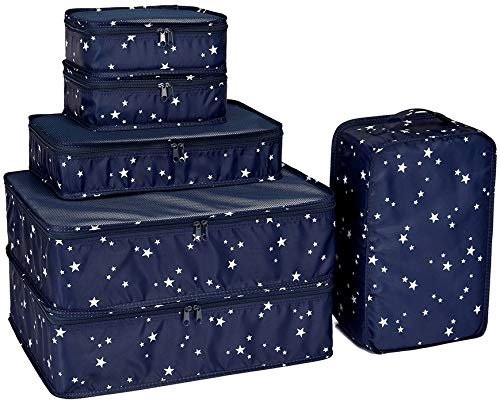 Packing Cubes 6 Set-TZbonjourney-Travel Luggage Packing Organizers with Shoe Bag (Star)