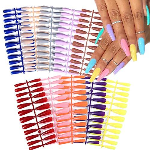 EBANKU Long Coffin Fake Nails, 240PCS Solid Color Ballerina Coffin False Nails Artificial Nail Acrylic Full Cover Nails for Women & Girls DIY Nail Art Supplies Manicure at Salon