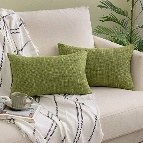 Pack of 2 Decorative Throw Linen Pillow Covers Farmhouse Christmas Style Cushion Covers Rectangle Soft Solid Pillowcases for Couch Bed Sofa Living Room-12'x20'_Green