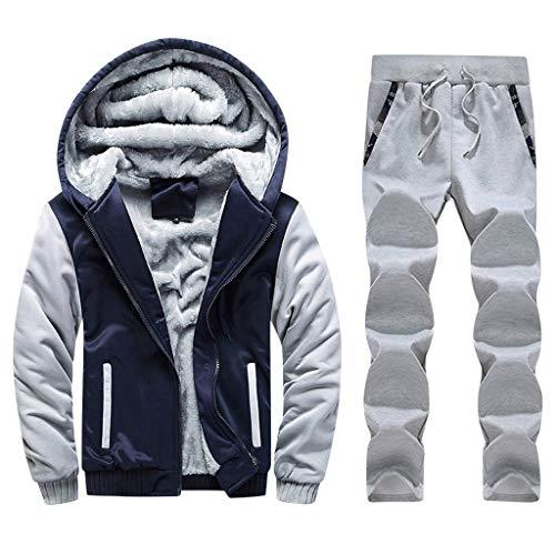 sunnymi - Abrigo para hombre con capucha y cremallera gruesa azul oscuro XXXL