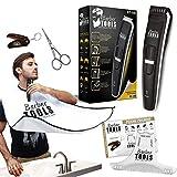 Kit tondeuse - Tous les articles indispensables pour la tonte de votre barbe | Tondeuse à barbe + Bavoir à barbe + Peigne pochoir  BARBER TOOLS