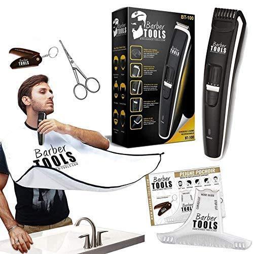 BARBER TOOLS  Kit recortadora de barba. Recortadora de barba + Peine para barba con perfilador + Capa de barba