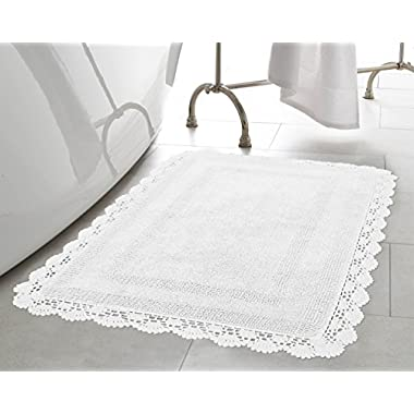 Laura Ashley Crochet Cotton 17x24 in. Bath Rug, White