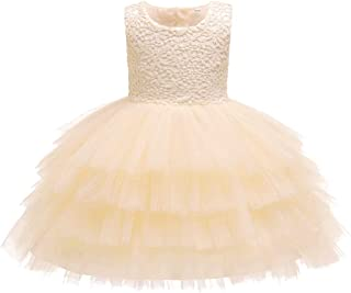 XFentech Baby Dress - Girl Princess Wedding Bridesmaid Pageant Birthday Party Dress Sleeveless Dresses Girl Clothes,Champagne,24M(19-24 Months)