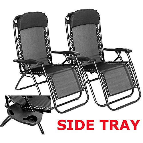 C&S Set of Two Zero Gravity Reclining Sun Loungers In Black | Garden Patio Foldable Reclining Chairs | Heavy Duty Design